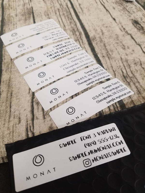 customized monat shipping labels example
