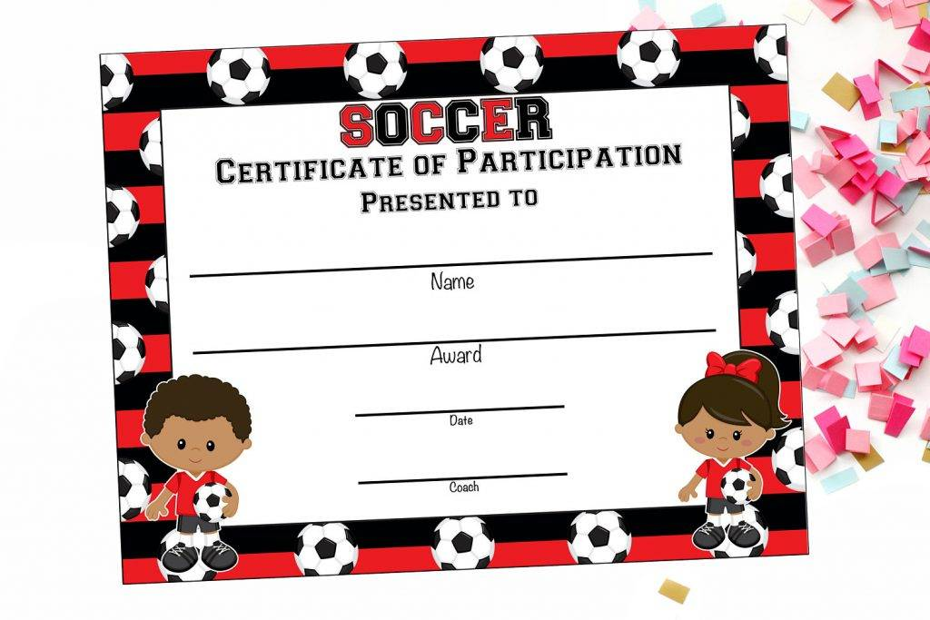 cute participation soccer award certificate example 1024x683