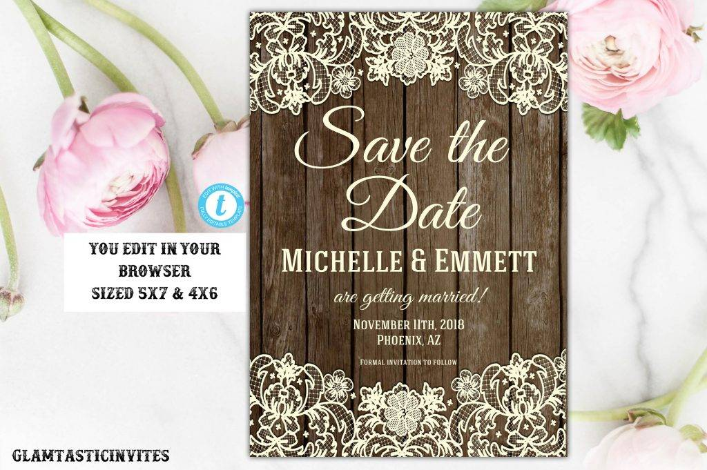 diy printable rustic save the date template example