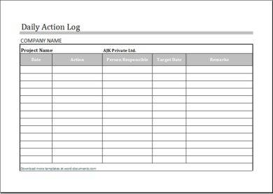 daily action work log example1