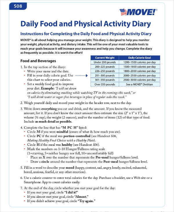 daily food and physical activity diary