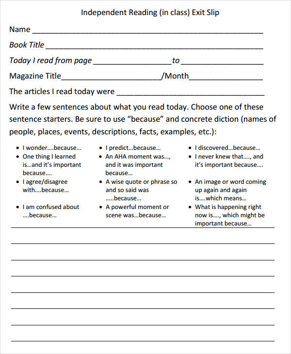 daily reading exit slip