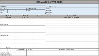 daily weekly construction work log example1