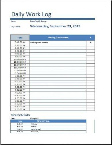 daily work log template example1