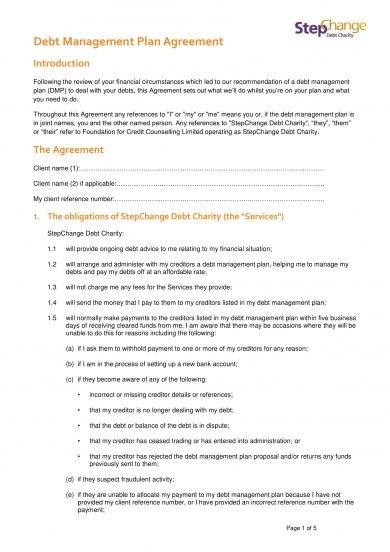 debt management plan agreement example