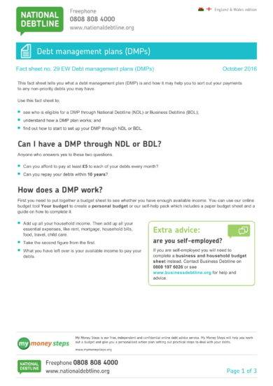 debt management plan fact sheet example