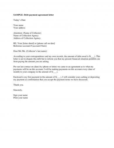 debt payment agreement letter example