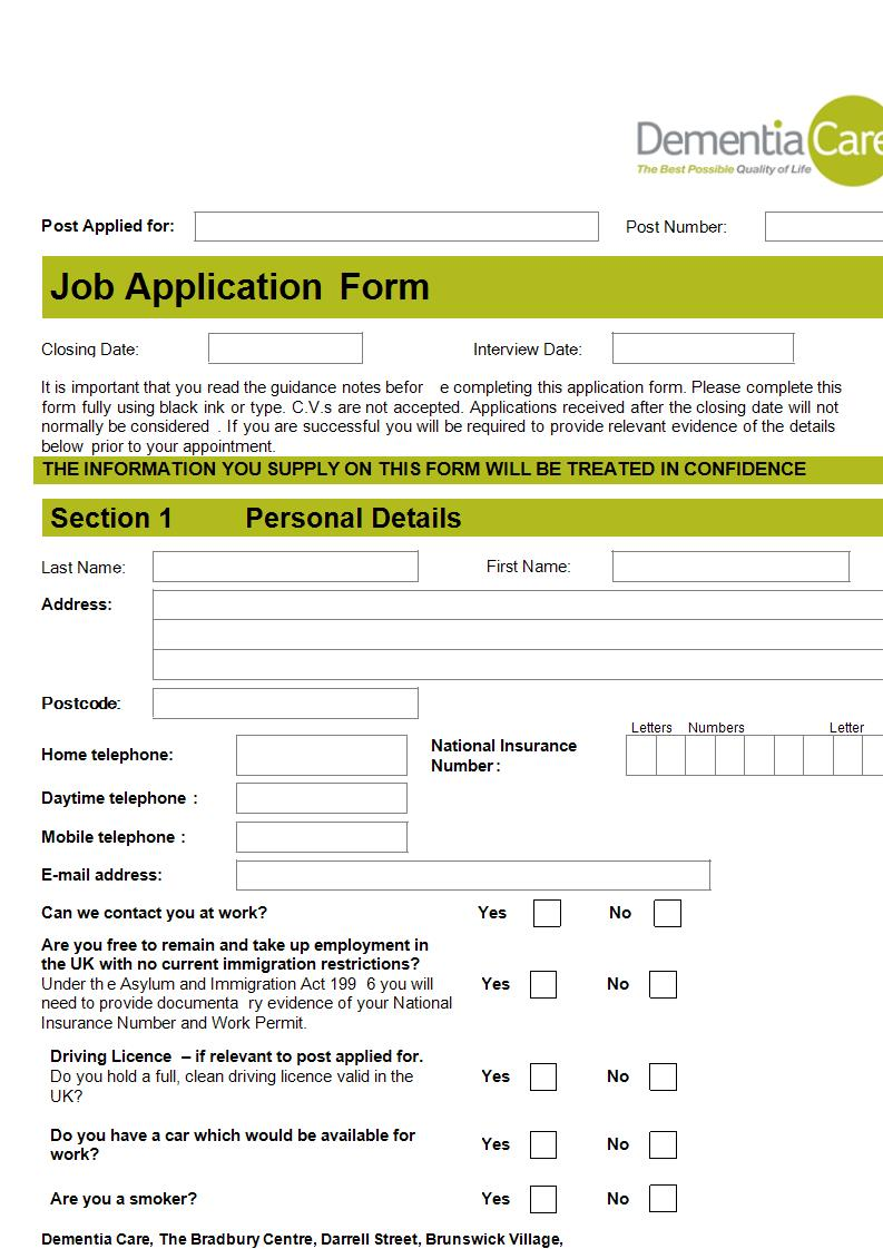 dementia care job application form example