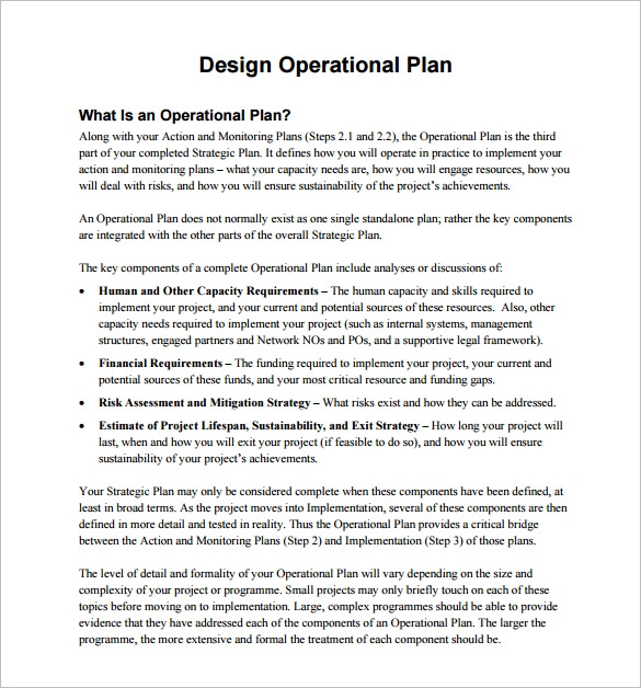 design operational plan example