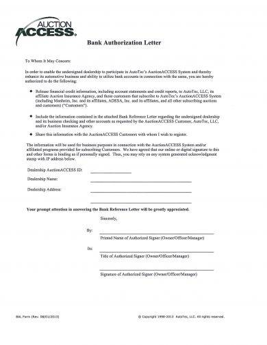 detailed bank authorization letter example