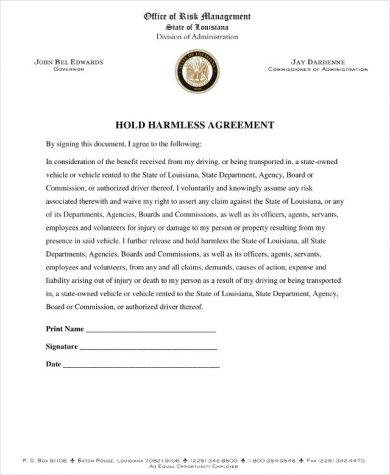 detailed hold harmless agreement example1