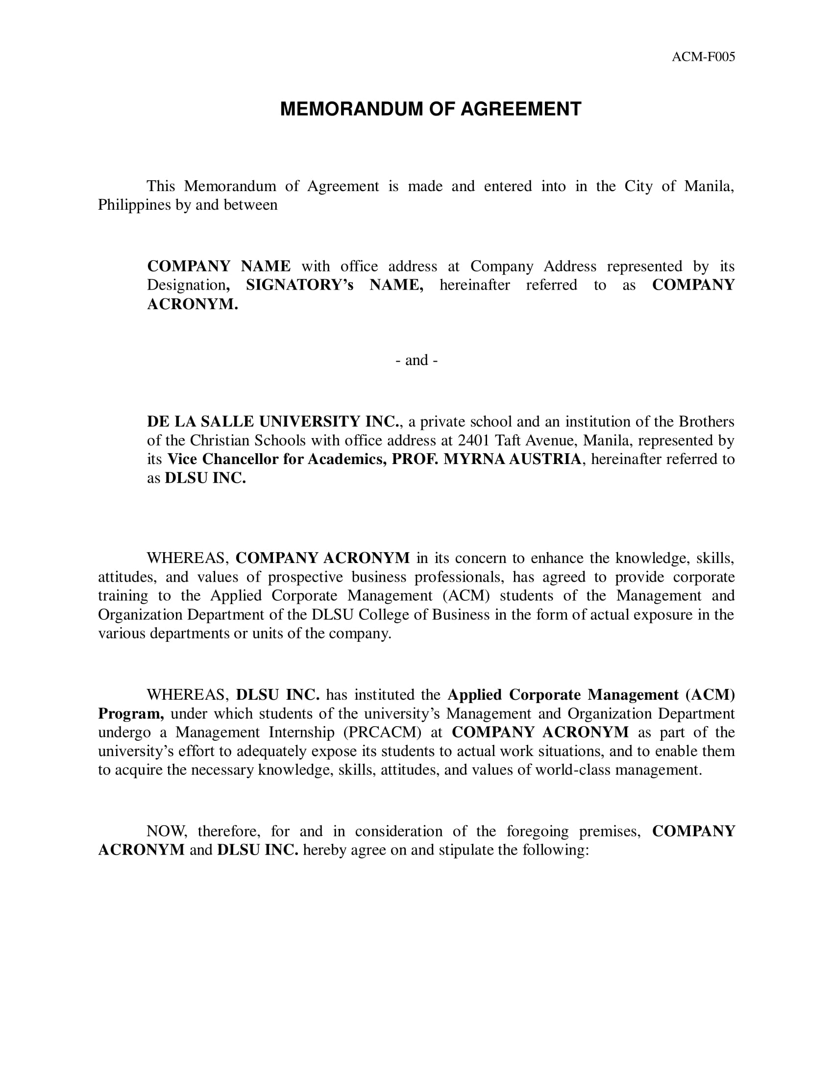 detailed memorandum of agreement example
