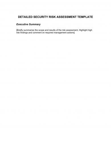 detailed security risk assessment template example