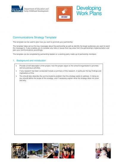 developing work plans communications strategy template example