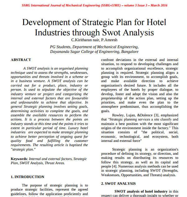 development of strategic plan for hotel swot analysis
