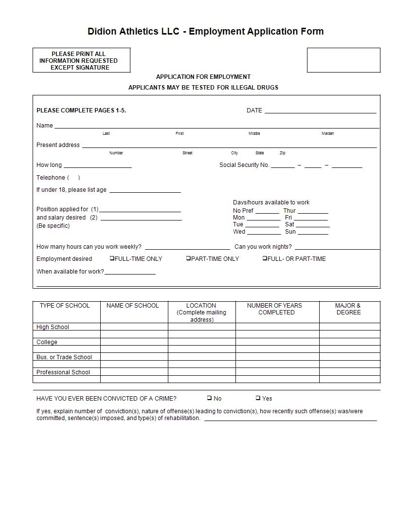 didion athletics employment application form example