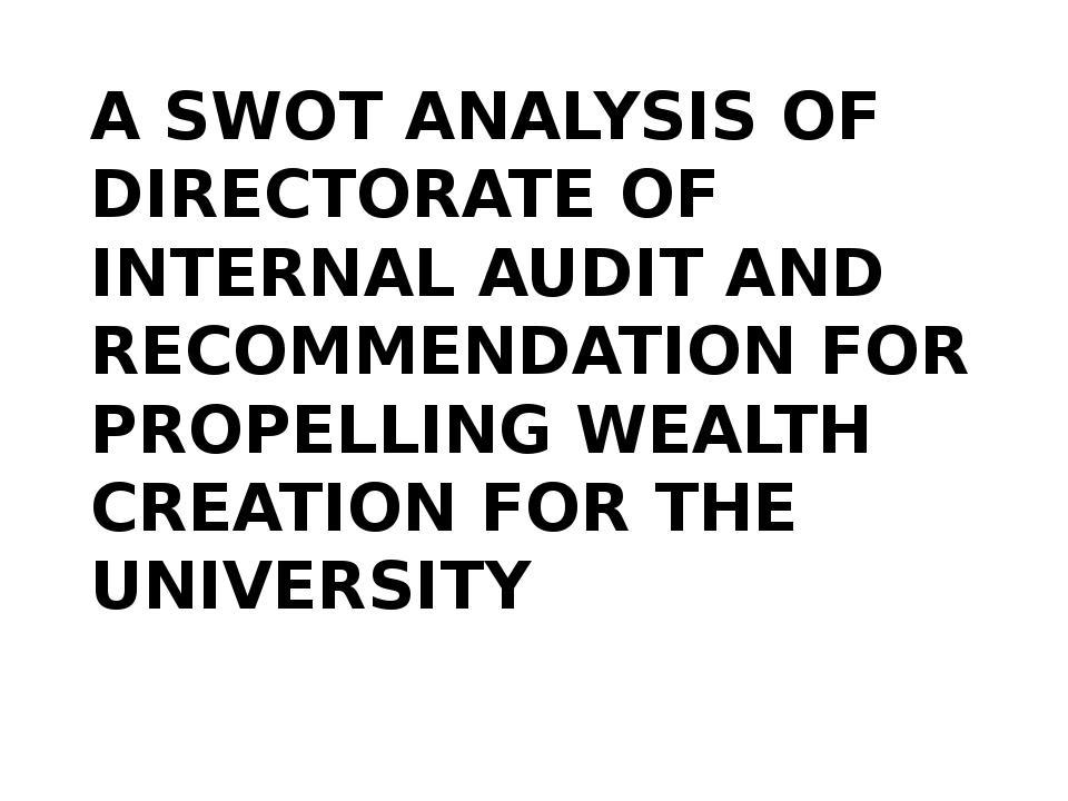 directorate of internal audit swot analysis example