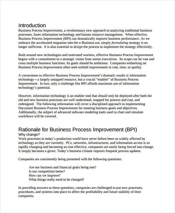 document business process improvement