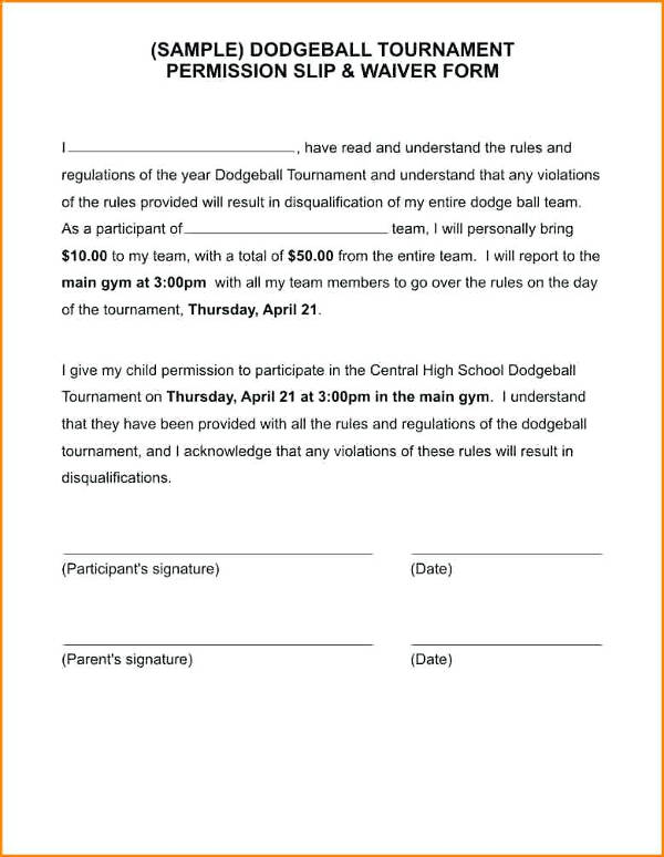 dodgeball tournament permission slip template example1