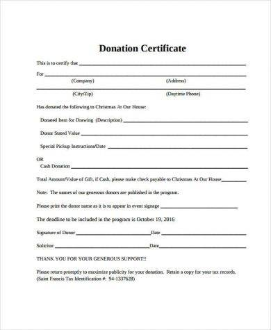 donation certificate format1