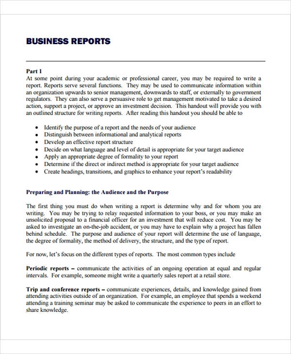 drafting a business report