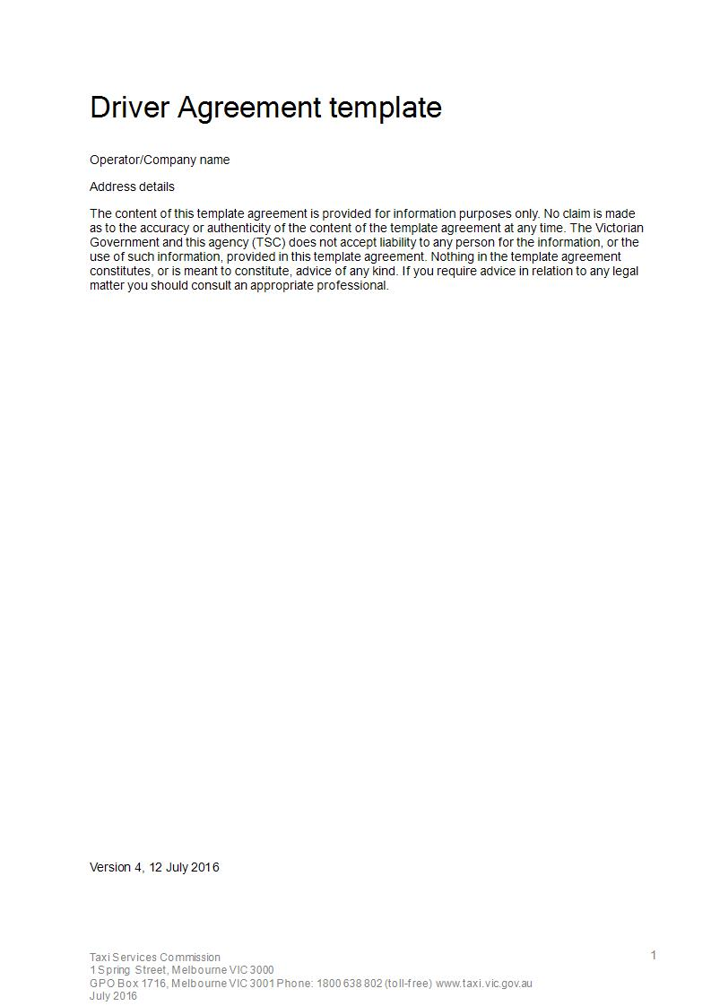 driver agreement template example