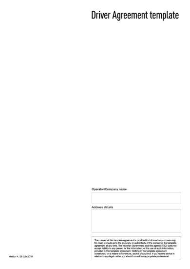 driver agreement template example1