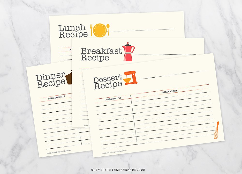 editable recipe postcard example
