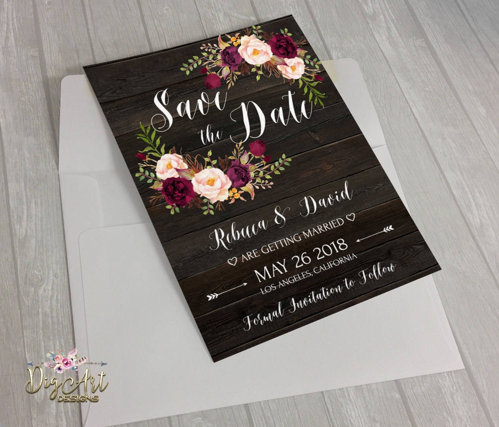 editable rustic boho floral save the date example