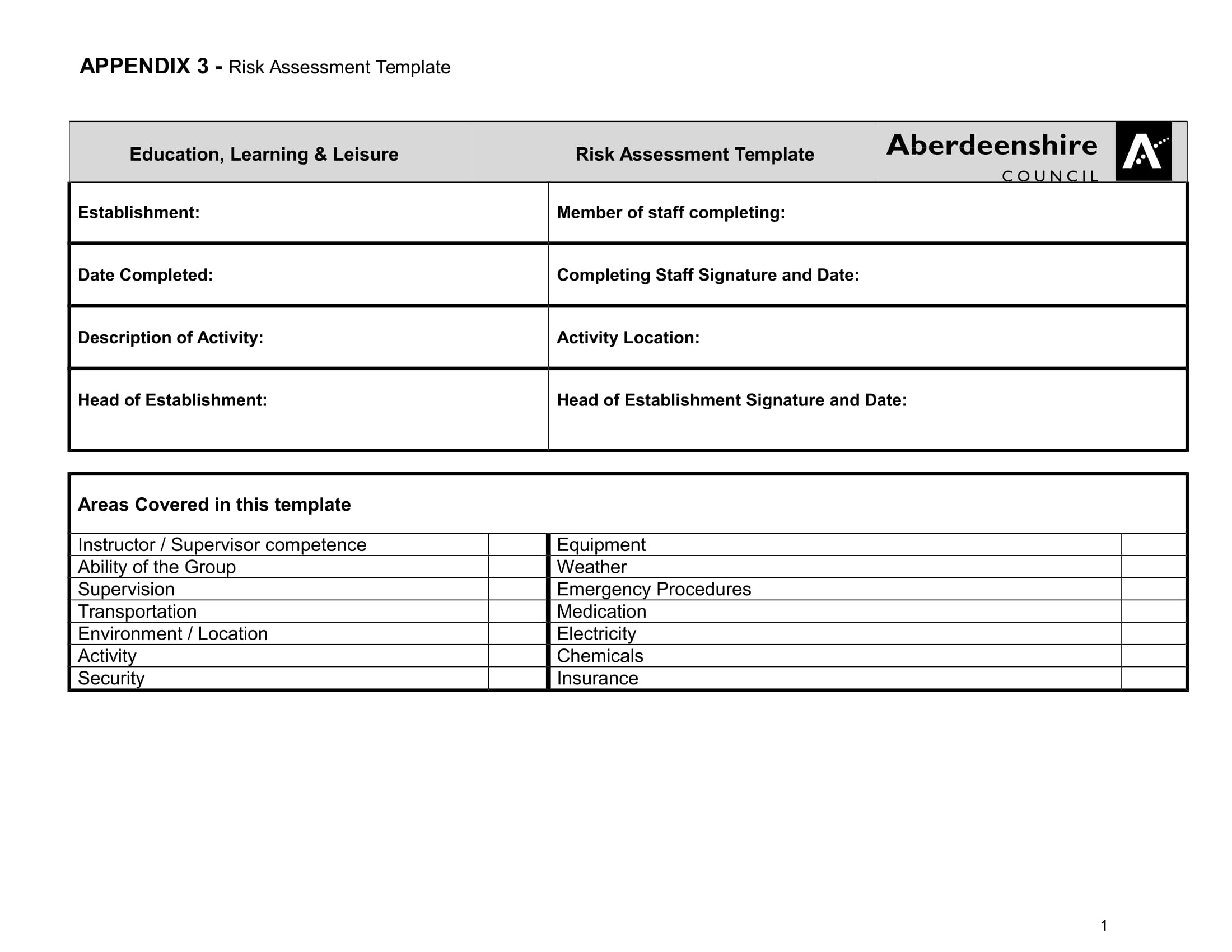 education learning and leisure risk assessment template example 01