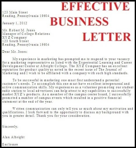effective business letter example