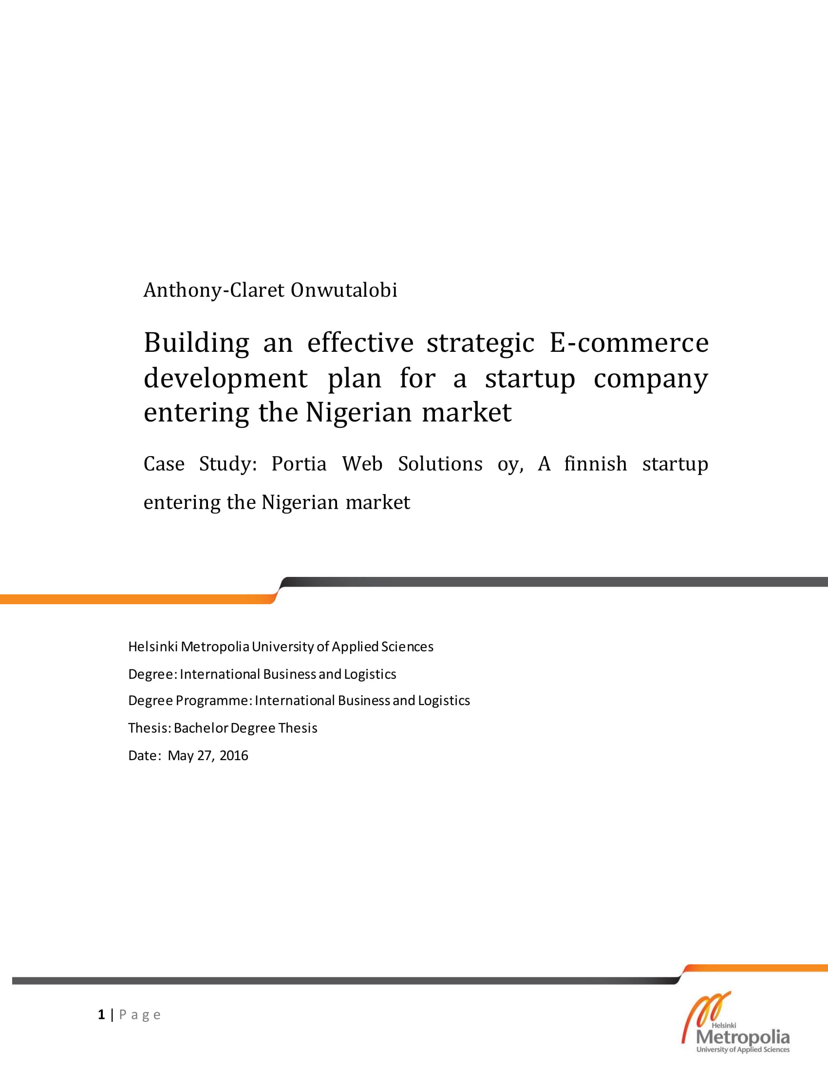 effective strategic e commerce development plan for a start up company example 01