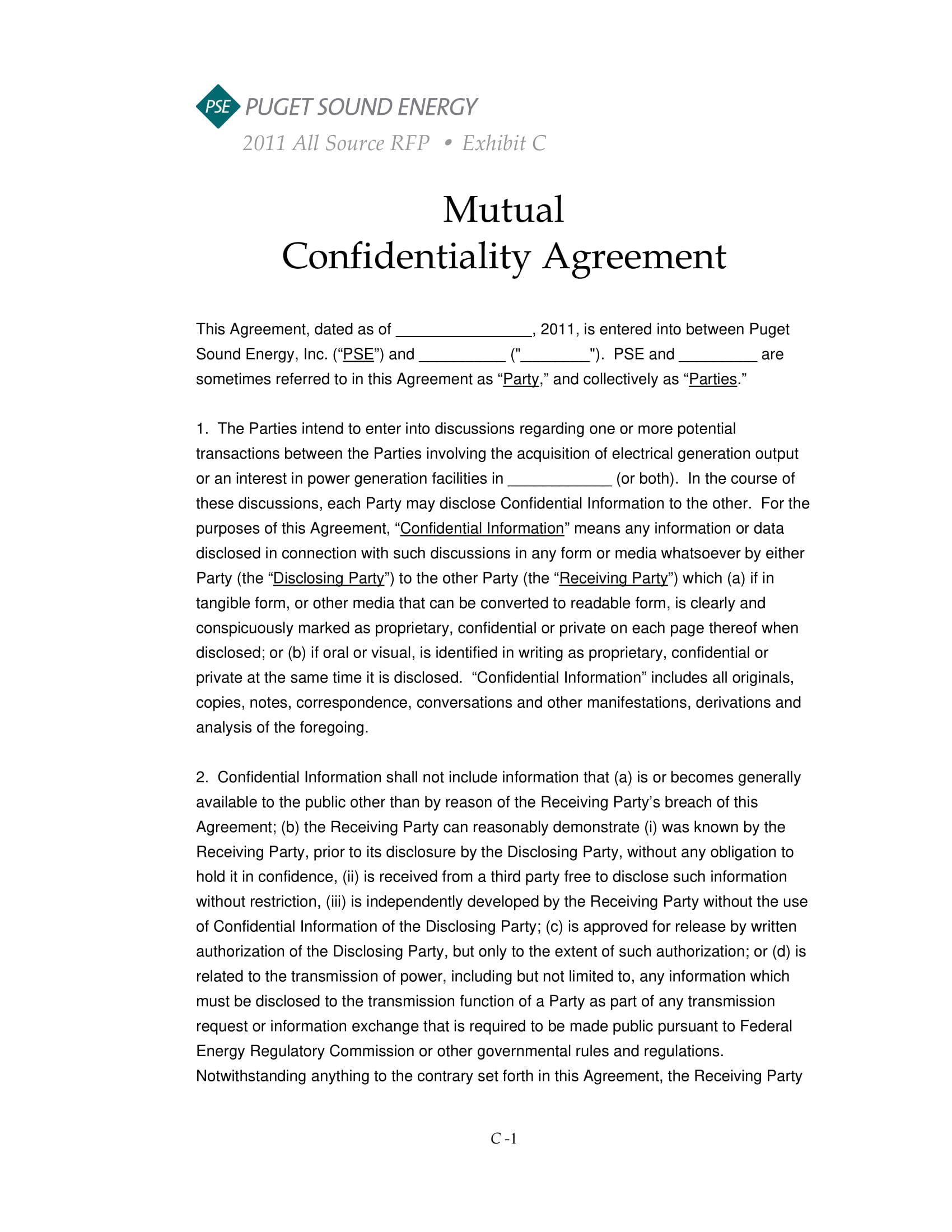 electric power mutual confidentiality agreement example