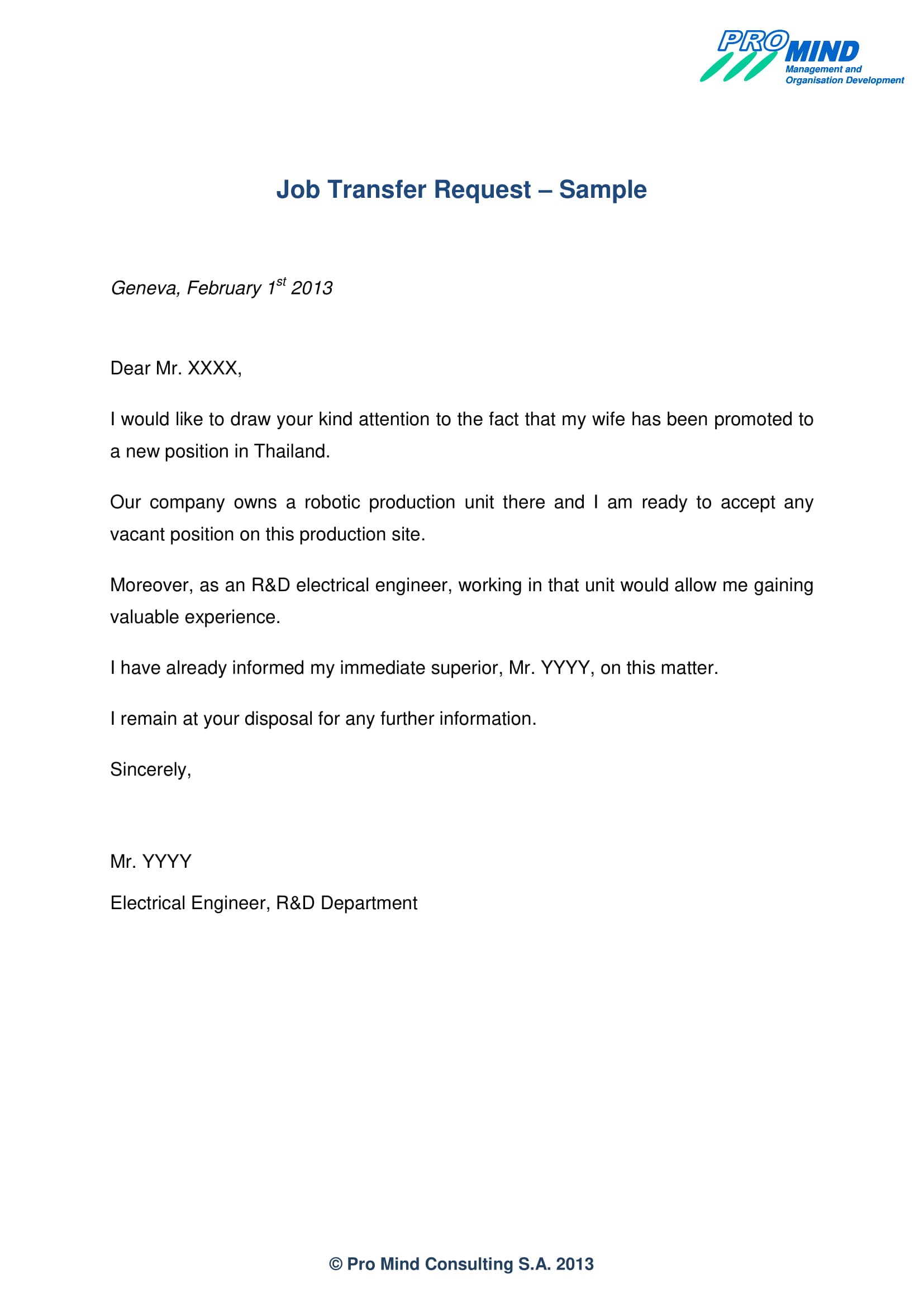 request to transfer letter