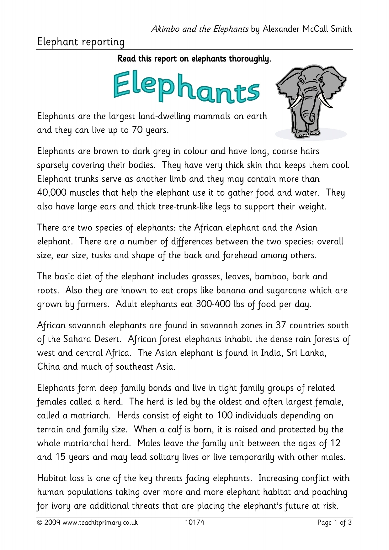 elephant reporting example