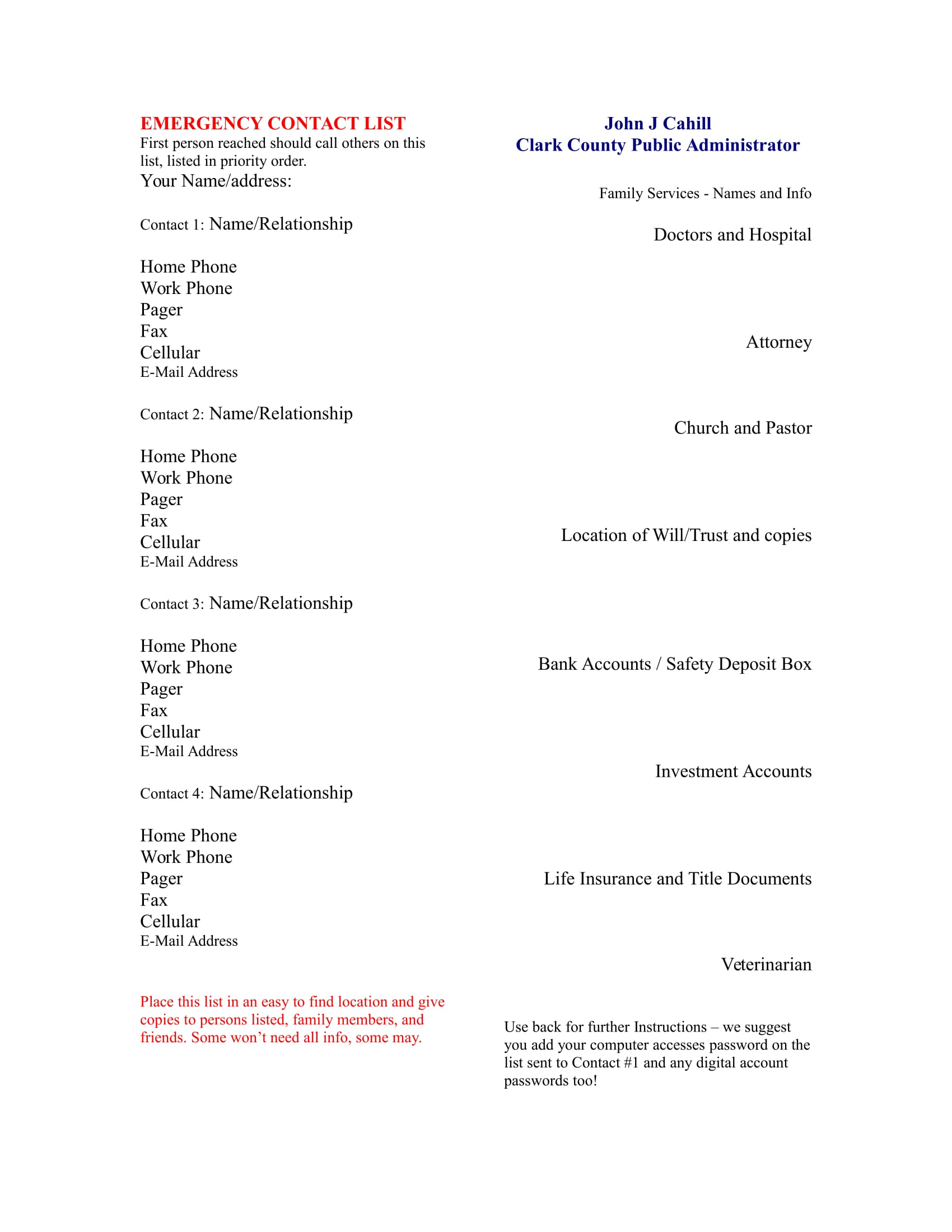 emergency contact list example