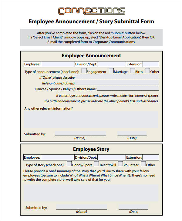 employee announcement story submittal form