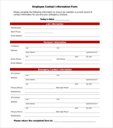 employee contact information form example1