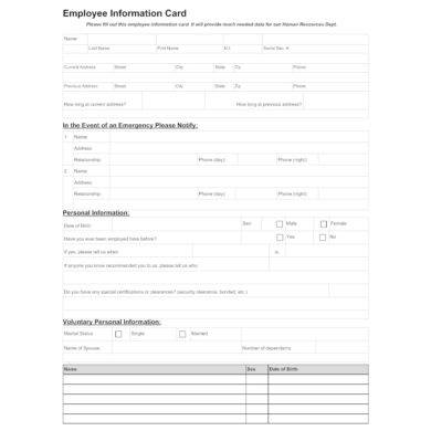employee information card or form example1