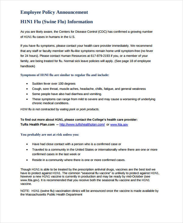employee policy announcement