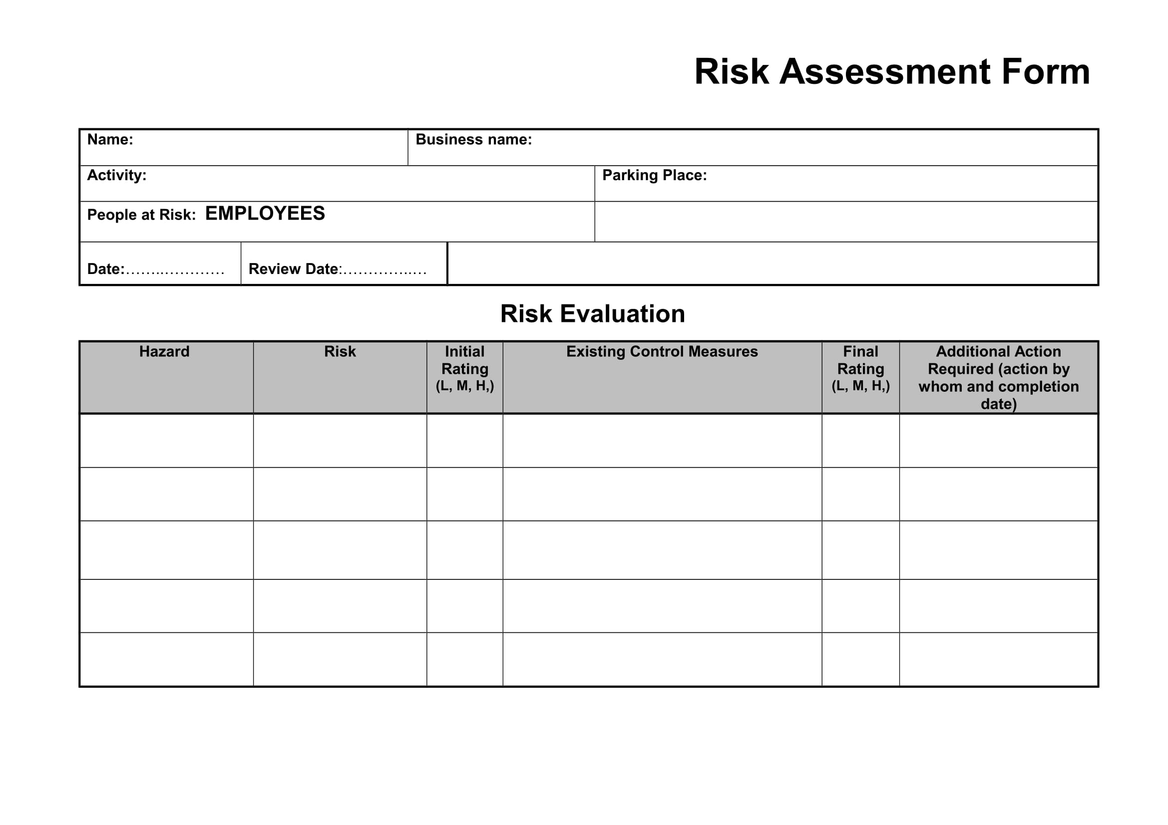 employee risk asessment form template example 1