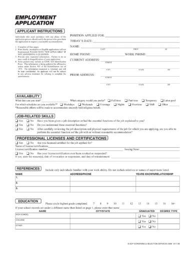 employment application example