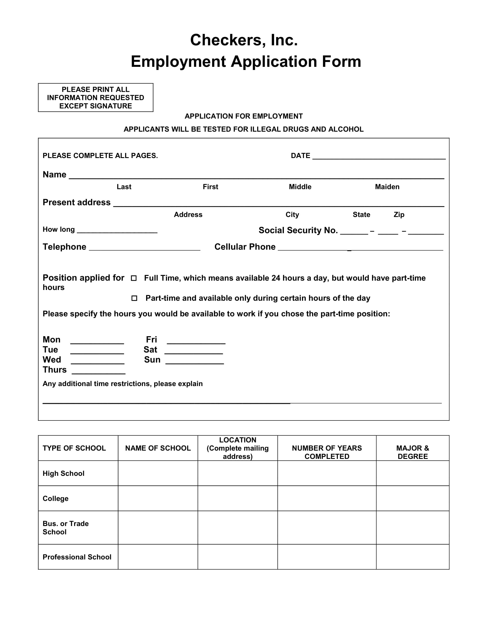 employment application form example