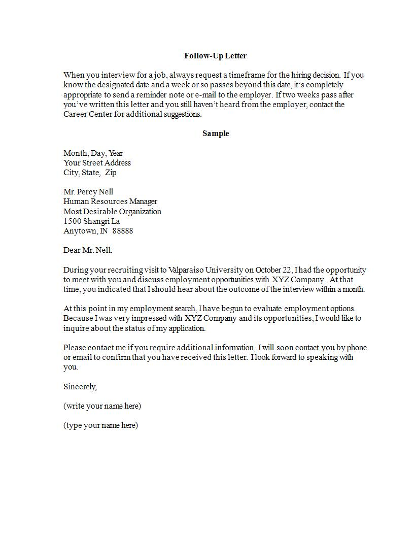 interview follow up letter 24 follow up letters pdf doc examples 11933 | Employment Interview Follow Up Letter Example