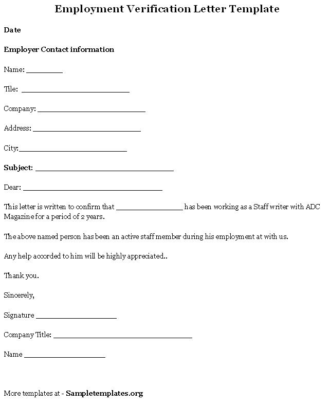 Employment Verification Letter Template Example