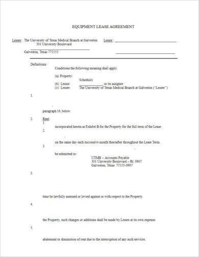 equipment lease agreement example1