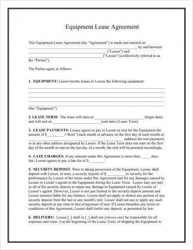 equipment lease agreement format example1