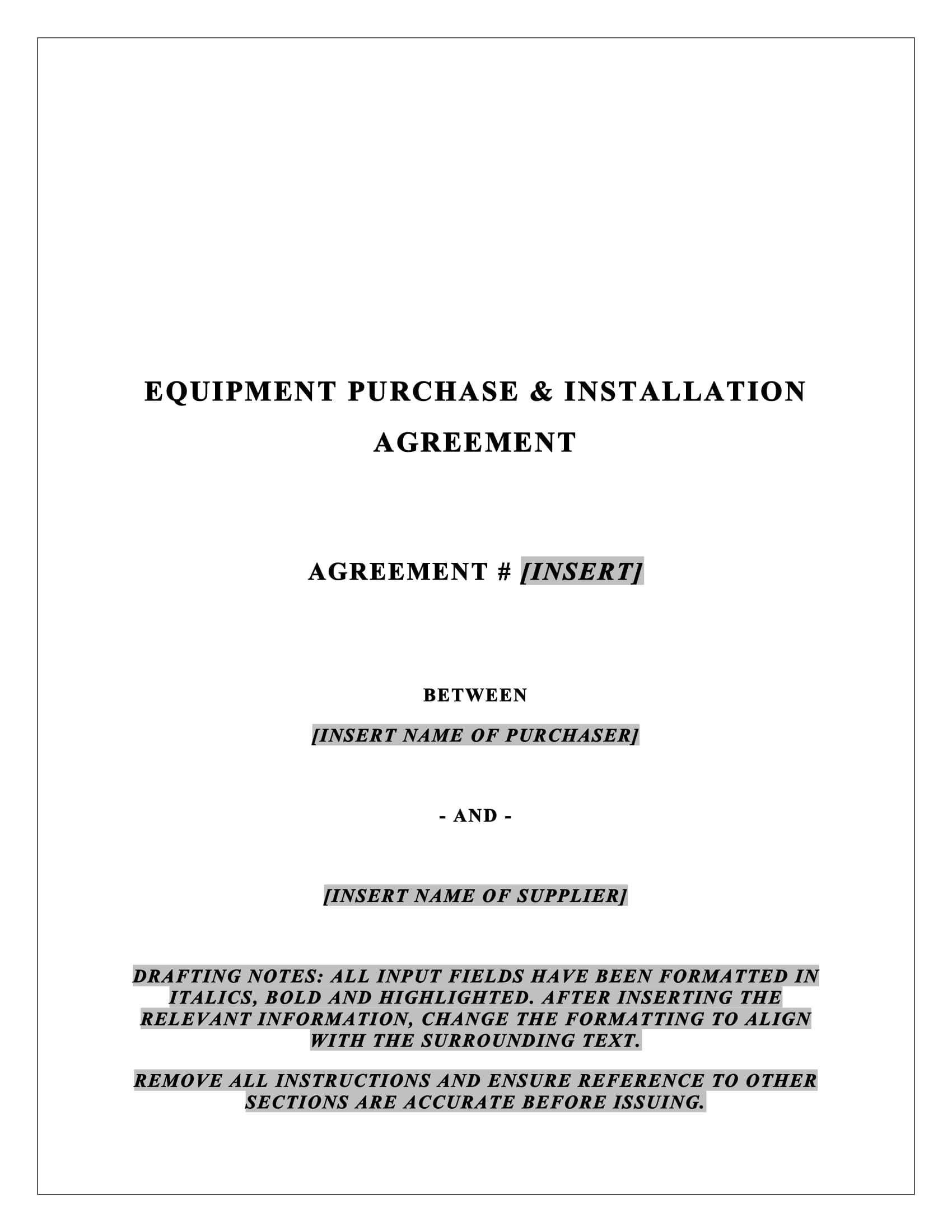 equipment purchase and installation agreement example