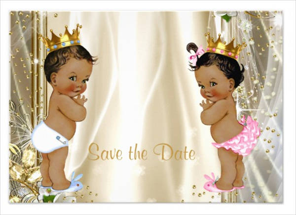 ethnic prince princess baby shower save the date card