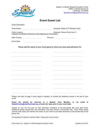 event guest list template example